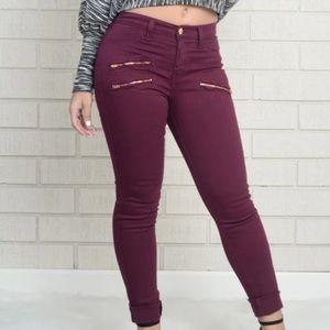 Fashion Nova Burgundy Jeans Gold Zippers-11